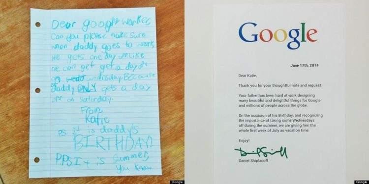Una niña escribe una carta al jefe de su padre en Google y  la empresa le envía una respuesta inesperada 2