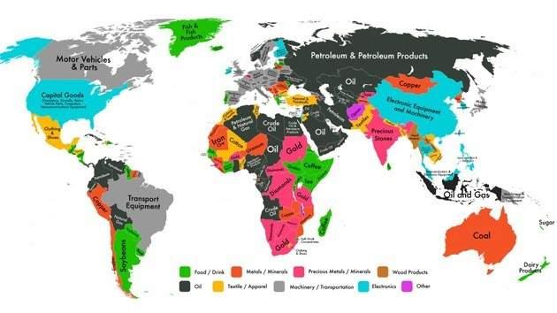 Este mapa muestra cuáles son los productos más exportados en cada país 8