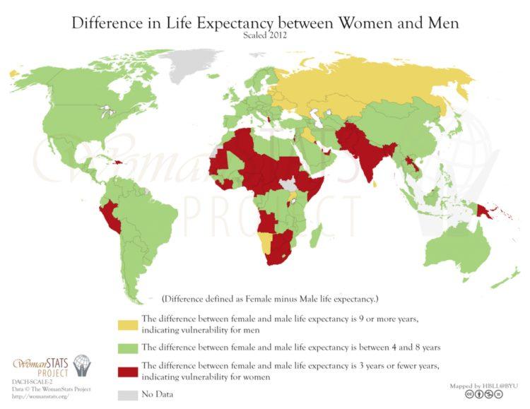 Diferencia de esperanza de vida entre hombres y mujeres. Fuente: Woman Stats