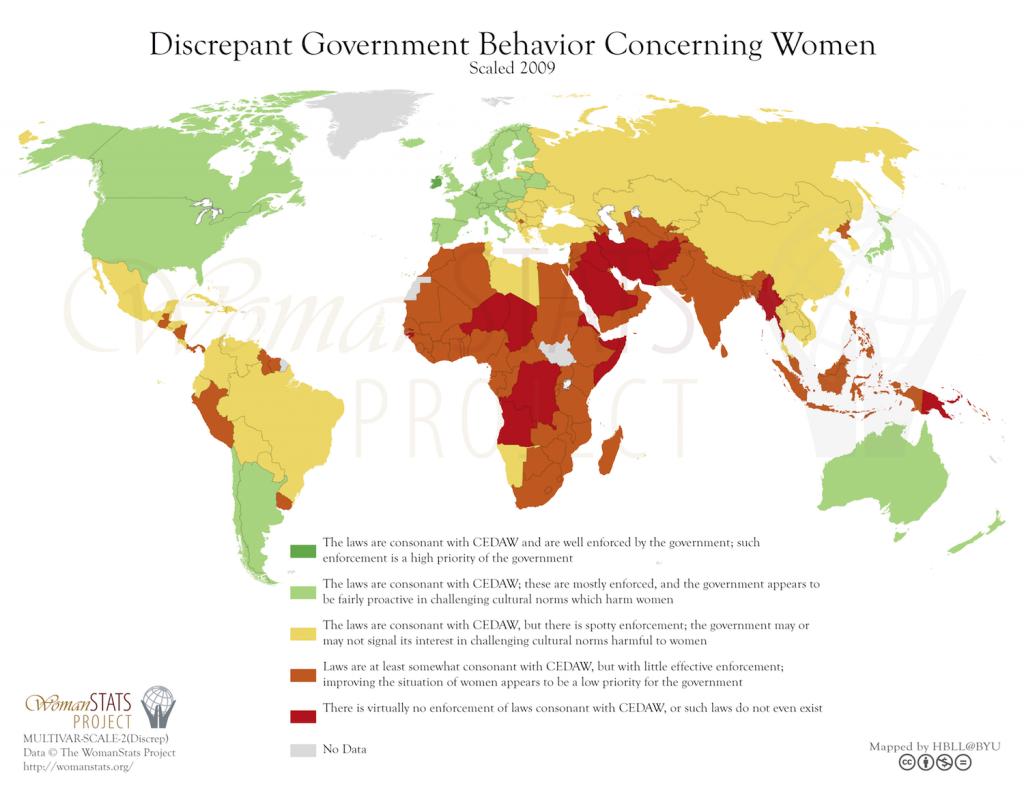 Comportamiento discrepante del gobierno en relación a la mujer. Fuente: Woman Stats