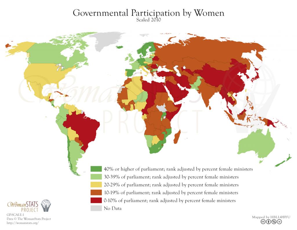 Participación de la mujer en el gobierno. Fuente: Woman Stats
