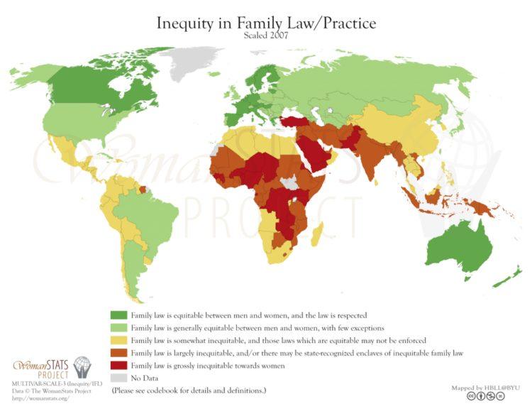 Desigualdad en el derecho de familia/práctica. Fuente: Woman Stats