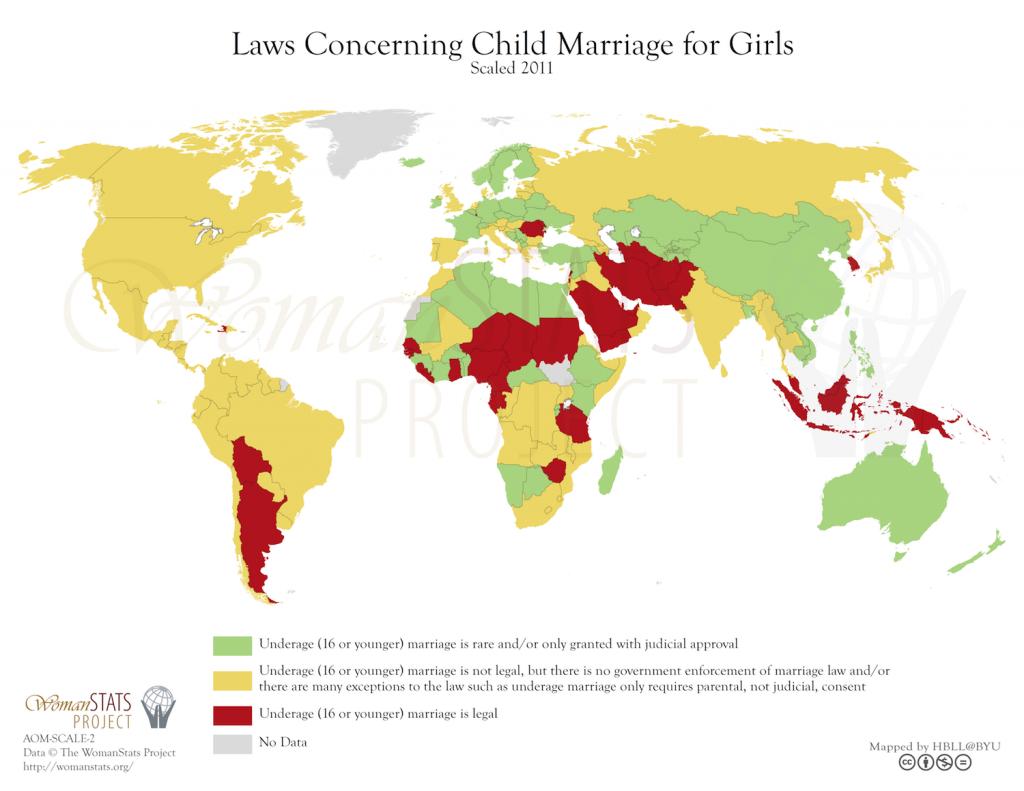 Legislación relacionada con el matrimonio infantil femenino. Fuente: Woman Stats