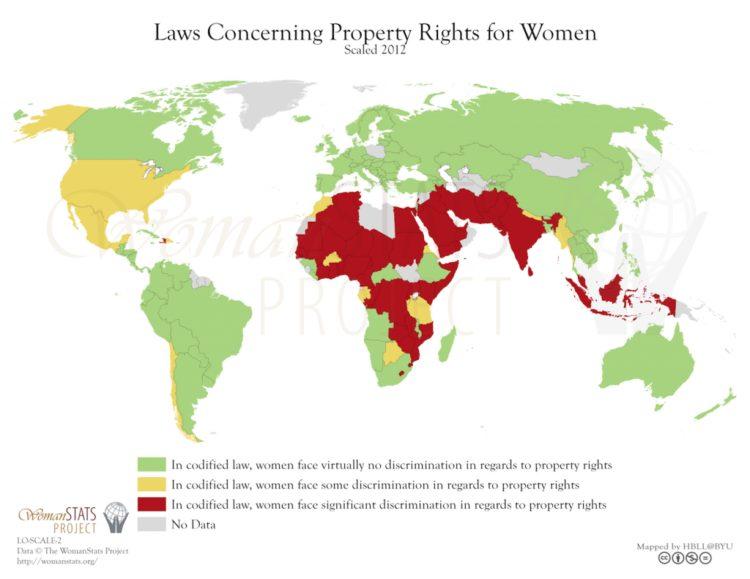 Leyes vinculados al derecho de la propiedad para la mujer. Fuente: Woman Stats