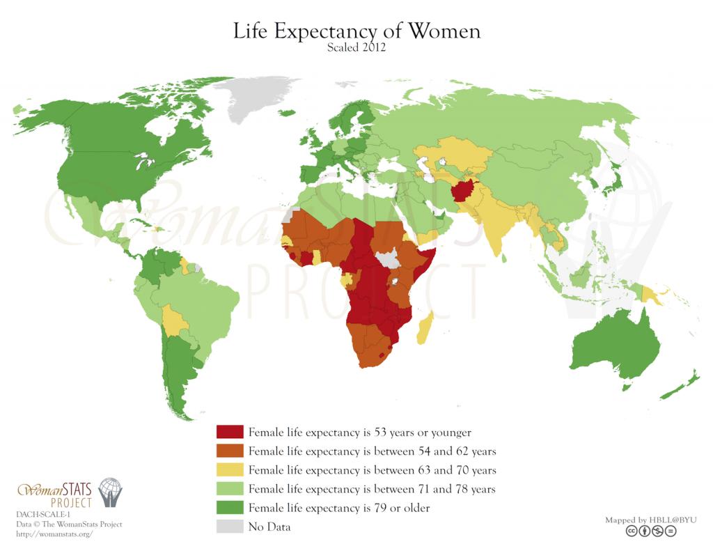 Esperanza de vida en mujeres. Fuente: Woman Stats