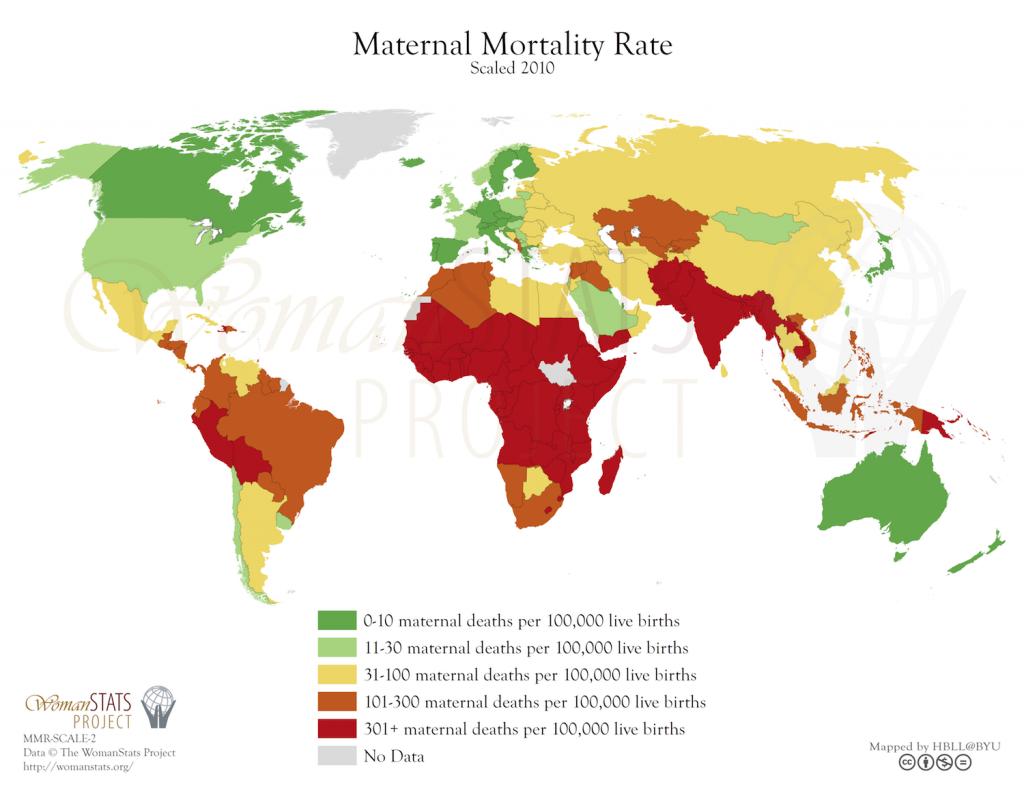 Tasa de mortalidad materna. Fuente: Woman Stats
