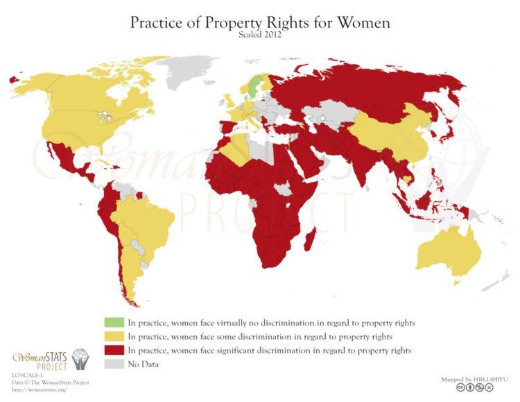 Práctica del derecho de la propiedad para la mujer. Fuente: Woman Stats