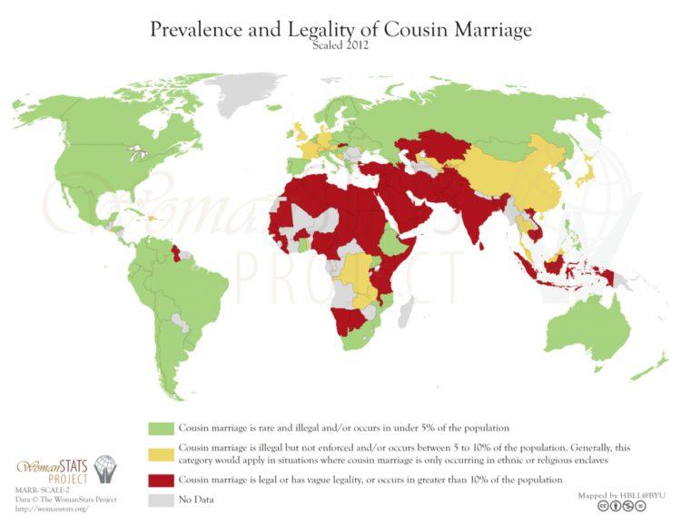 Prevalencia y legalidad del matrimonio entre primos. Fuente: Woman Stats