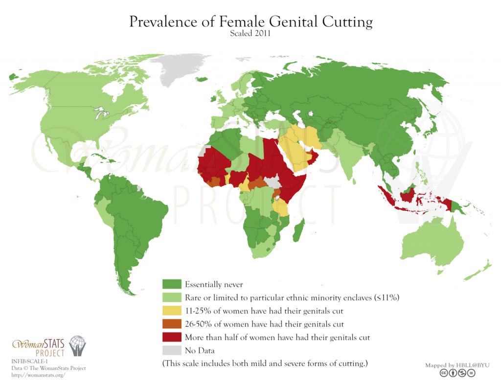 Prevalencia de la mutilación genital femenina. Fuente: Woman Stats