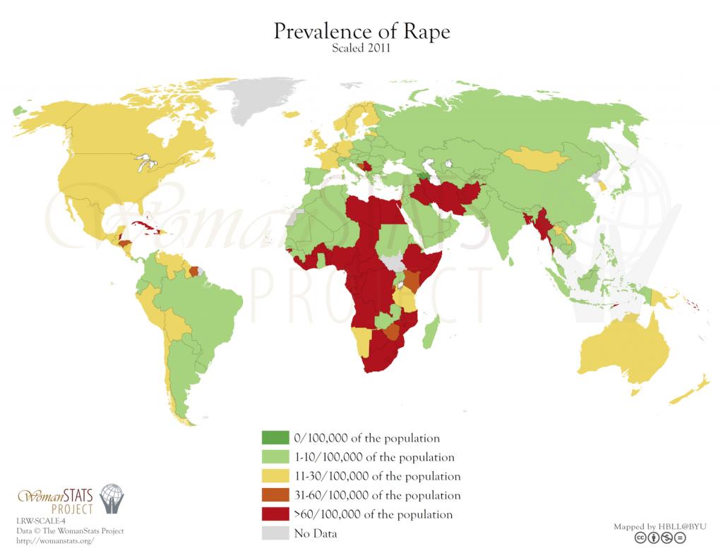 Prevalencia de la violación. Fuente: Woman Stats