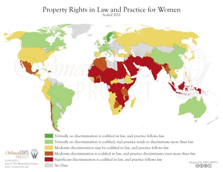 Leyes de derecho de la propiedad y práctica. Fuente: Woman Stats