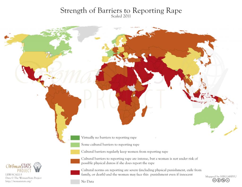 Fuerza de las barreras en la denuncia de violación. Fuente: Woman Stats