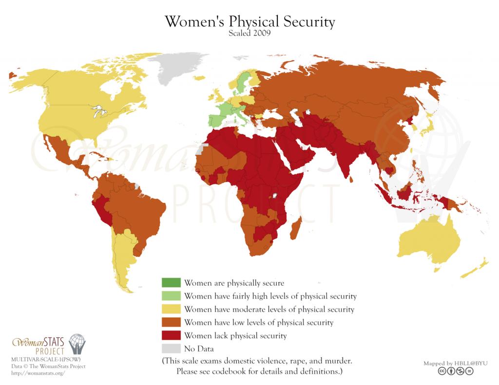 Seguridad física de las mujeres. Fuente: Woman Stats