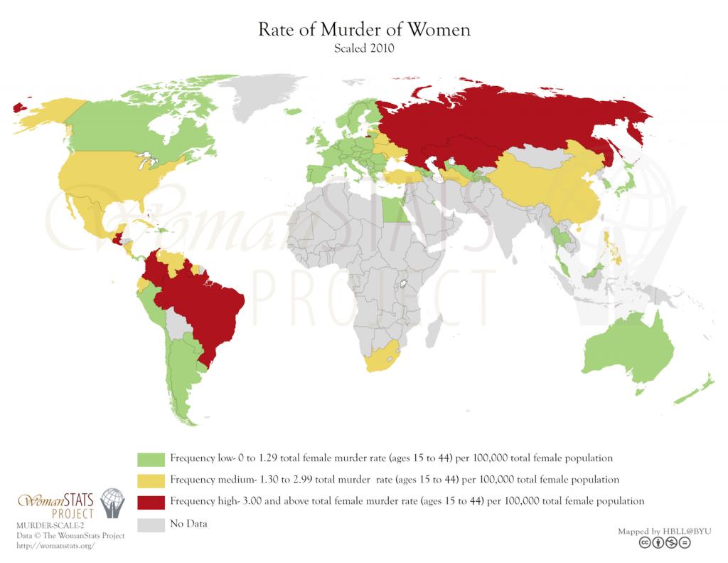 Tasa de asesinato de mujeres. Fuente: Woman Stats