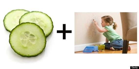 La piel del pepino puede quitar manchas de paredes y mesas