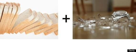 rebanada de pan de molde te ayudará a recoger cristales rotos