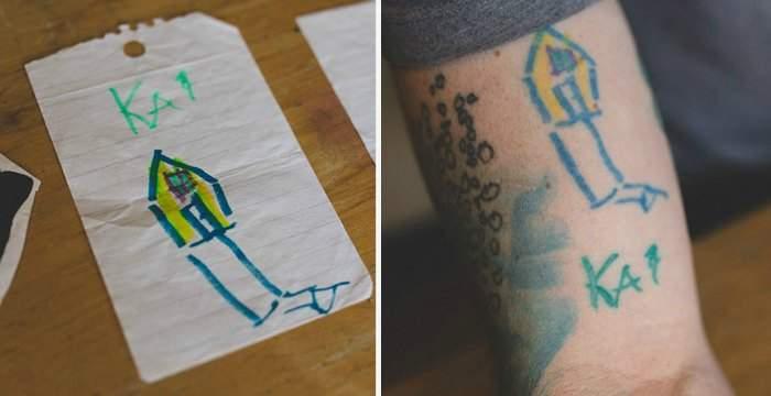 Un padre se tatúa todo el cuerpo con los dibujos de su hijo pequeño. No te pierdas el resultado 8
