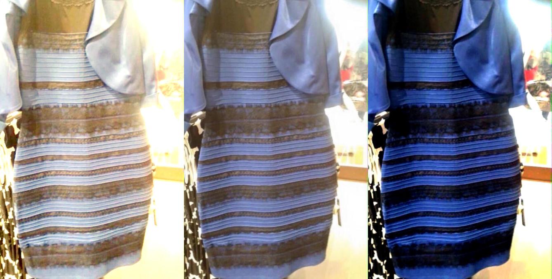 La imagen original en el centro. A la derecha y a la izquierda la imagen retocada para potenciar unos u otros colores (Foto: Wired) Leer más: Y tú, ¿de qué color crees que es este vestido? La razón por la que cada uno lo ve diferente