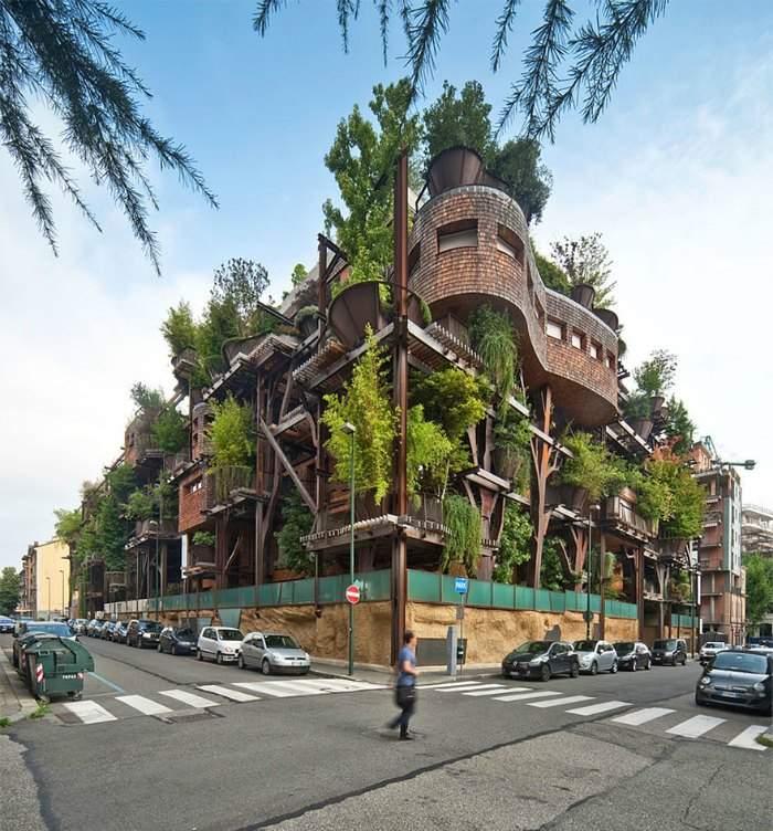 Este edificio está rodeado por árboles que lo protegen de la contaminación y el ruido. ¡Quién pudiera vivir allí! 12