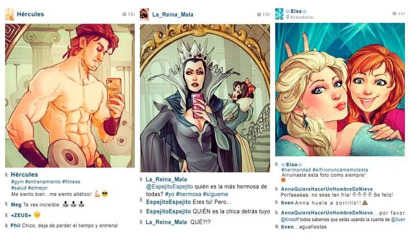 Si los personajes Disney tuvieran redes sociales, ¿qué fotos publicarían? Divertido proyecto gráfico 8