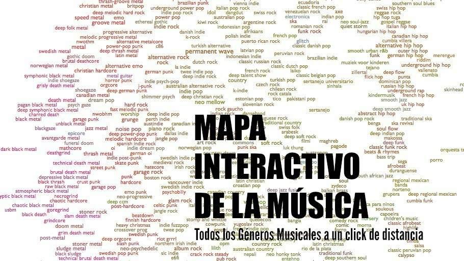 Imagina un mapa en el que puedas escuchar y ubicar todos los estilos musicales del mundo. Aquí lo tienes 1