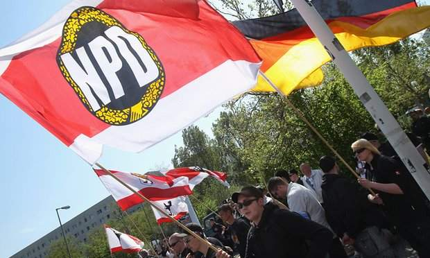 Supporters of the far-right anti-immigration NPD party in Berlin. Photograph- Sean Gallup:Getty Images