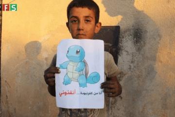 Niños sirios se colocan tras un Pokémon para pedir ayuda a la comunidad internacional 6