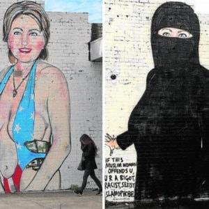 El grafitero australiano Lushsux fue censurado por su versión de Hillary Clinton. Esta fue su respuesta 4