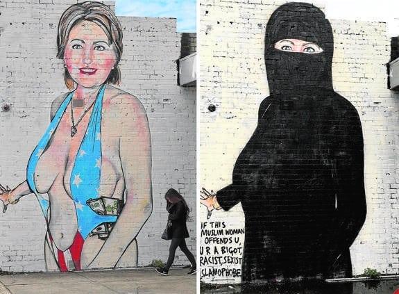 El grafitero australiano Lushsux fue censurado por su versión de Hillary Clinton. Esta fue su respuesta 2