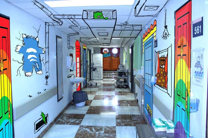 Estudiantes de Bellas Artes pintan el Área de Oncología Infantil del Hospital General Universitario de Alicante 2
