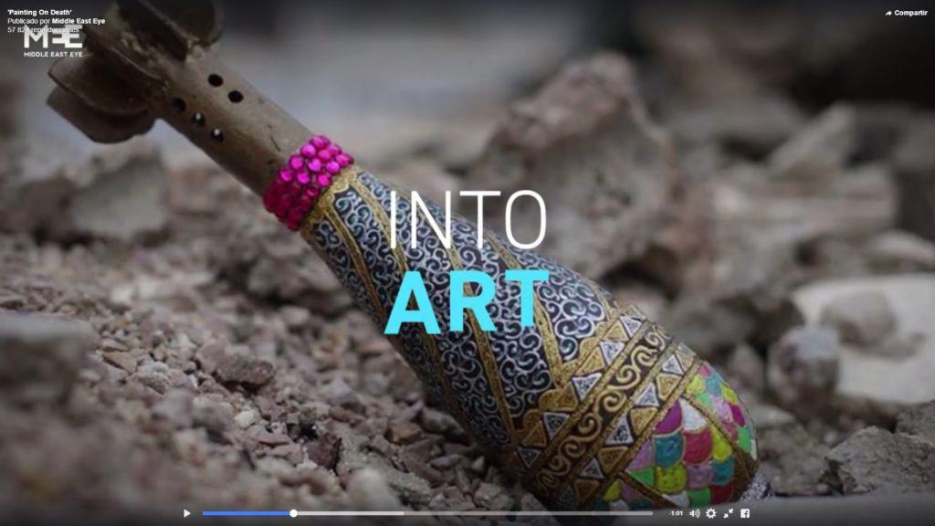Bombas, cascos y balas transformados en objetos artísticos en la ciudad siria de Douma 1