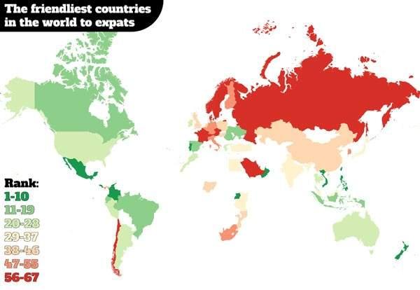 Este es el mapa de los mejores países para hacer amigos 1
