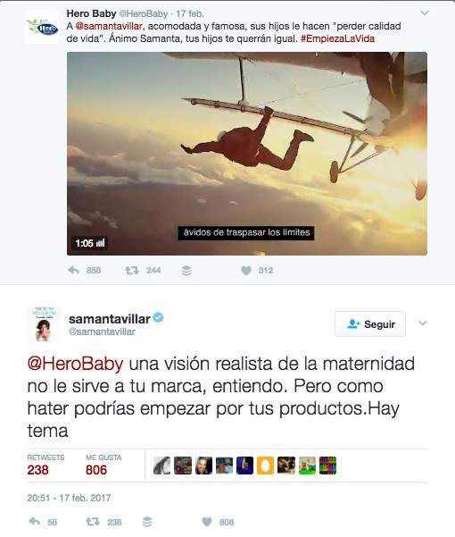 La marca Hero incendia las redes con un tuit hacia la «acomodada y famosa» Samanta Villar 1