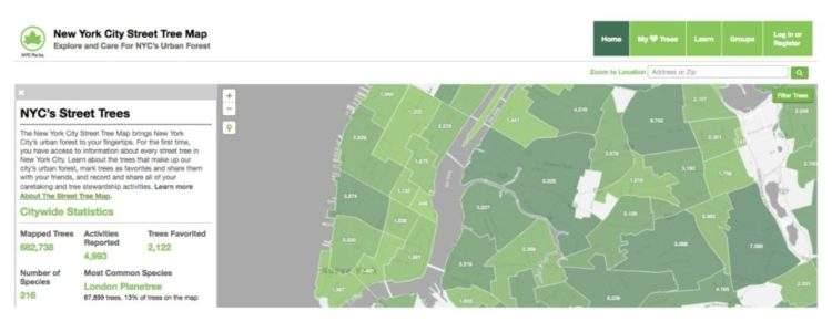 Espectacular web que mapea todos los árboles de Nueva York y calcula el beneficio económico de cada uno 3