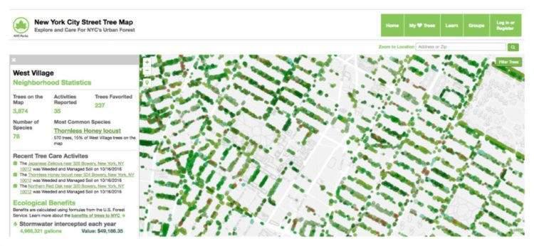 Espectacular web que mapea todos los árboles de Nueva York y calcula el beneficio económico de cada uno 2