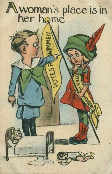 """Estas postales propagandísticas de principios del siglo XX muestran lo """"peligrosos"""" que eran los derechos de las mujeres 7"""