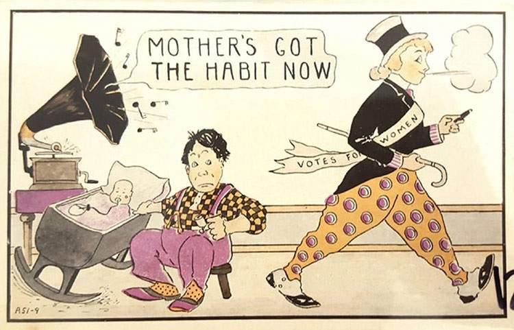 """Estas postales propagandísticas de principios del siglo XX muestran lo """"peligrosos"""" que eran los derechos de las mujeres 11"""