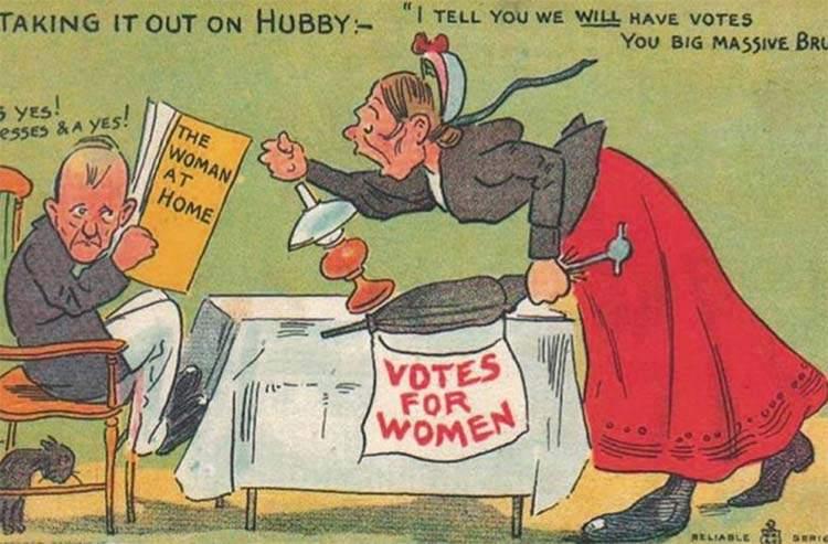 """Estas postales propagandísticas de principios del siglo XX muestran lo """"peligrosos"""" que eran los derechos de las mujeres 14"""