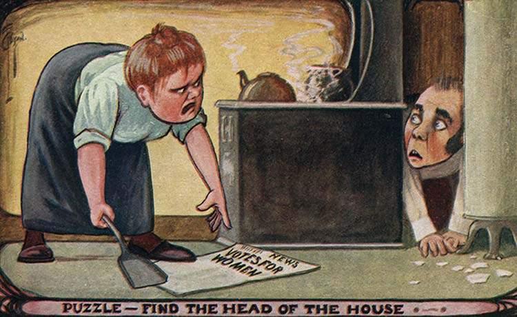 """Estas postales propagandísticas de principios del siglo XX muestran lo """"peligrosos"""" que eran los derechos de las mujeres 15"""