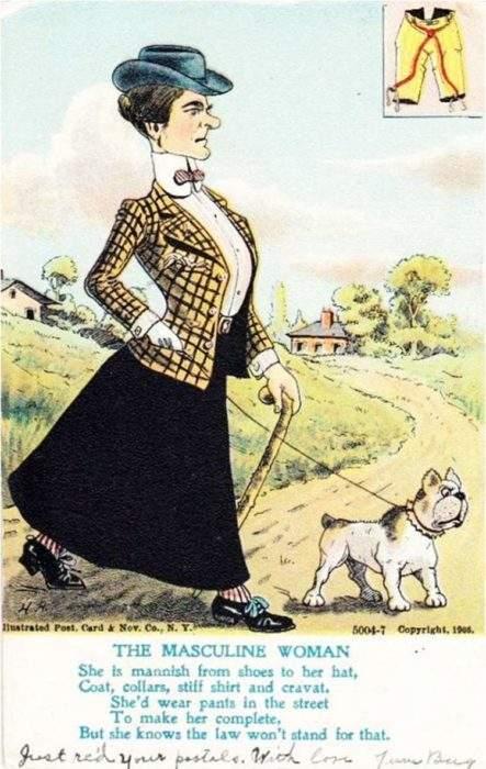 """Estas postales propagandísticas de principios del siglo XX muestran lo """"peligrosos"""" que eran los derechos de las mujeres 5"""