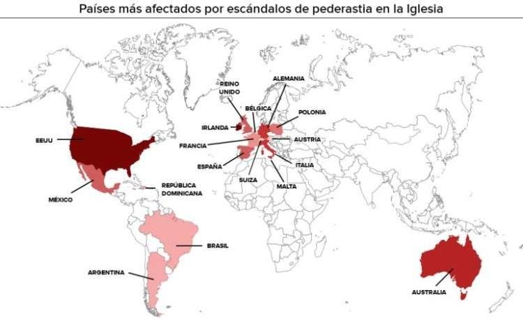El mapa de la pederastia en la Iglesia católica: ¿en qué países hay más casos? ¿Se actúa igual en todos ellos? 1