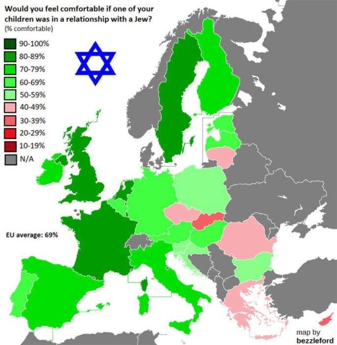 Hablando de intolerancia: ¿cómo somos en la práctica en Europa? Estos mapas nos lo muestran 5