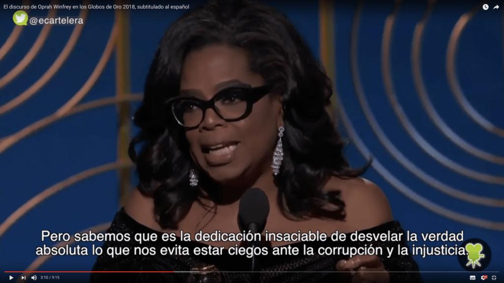 Traducimos el inspirador y valiente discurso de Oprah Winfrey 1