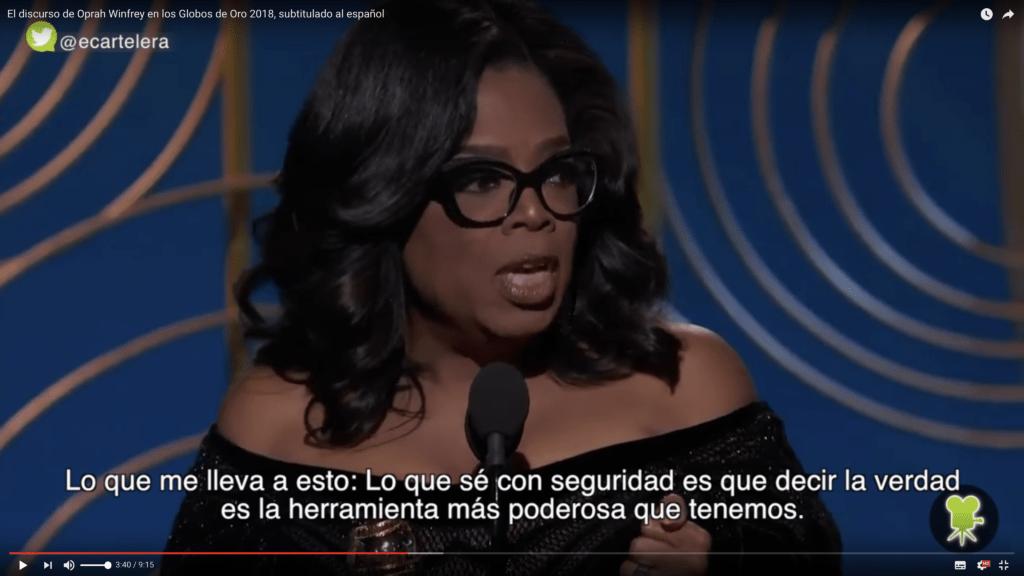 Traducimos el inspirador y valiente discurso de Oprah Winfrey 2