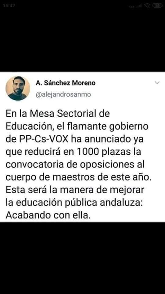La reflexión del profesor andaluz sobre sus alumnos votantes de VOX que está arrasando en las redes 2