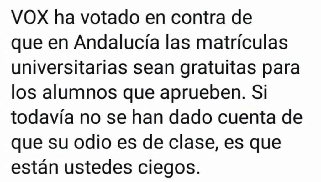 La reflexión del profesor andaluz sobre sus alumnos votantes de VOX que está arrasando en las redes 3