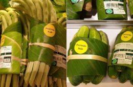 Supermercados que están utilizando hojas de plátano en lugar de envolturas de plástico ¡Enhorabuena! 8