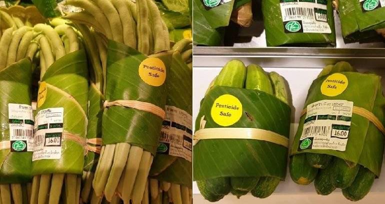 Supermercados que están utilizando hojas de plátano en lugar de envolturas de plástico ¡Enhorabuena! 2