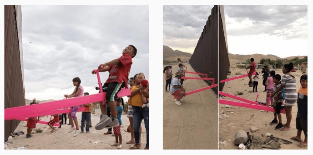 Activistas instalan este balancín en la frontera entre Estados Unidos y México para que los niños puedan jugar juntos 1