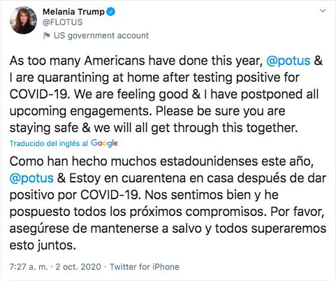 ¿Qué implica que Trump y Melania den positivo en Covid-19? Atentos a lo que está por venir 2